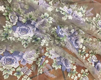 embroidered lace fabric with purple roses and green leaves, deluxe embroidery mesh lace fabric