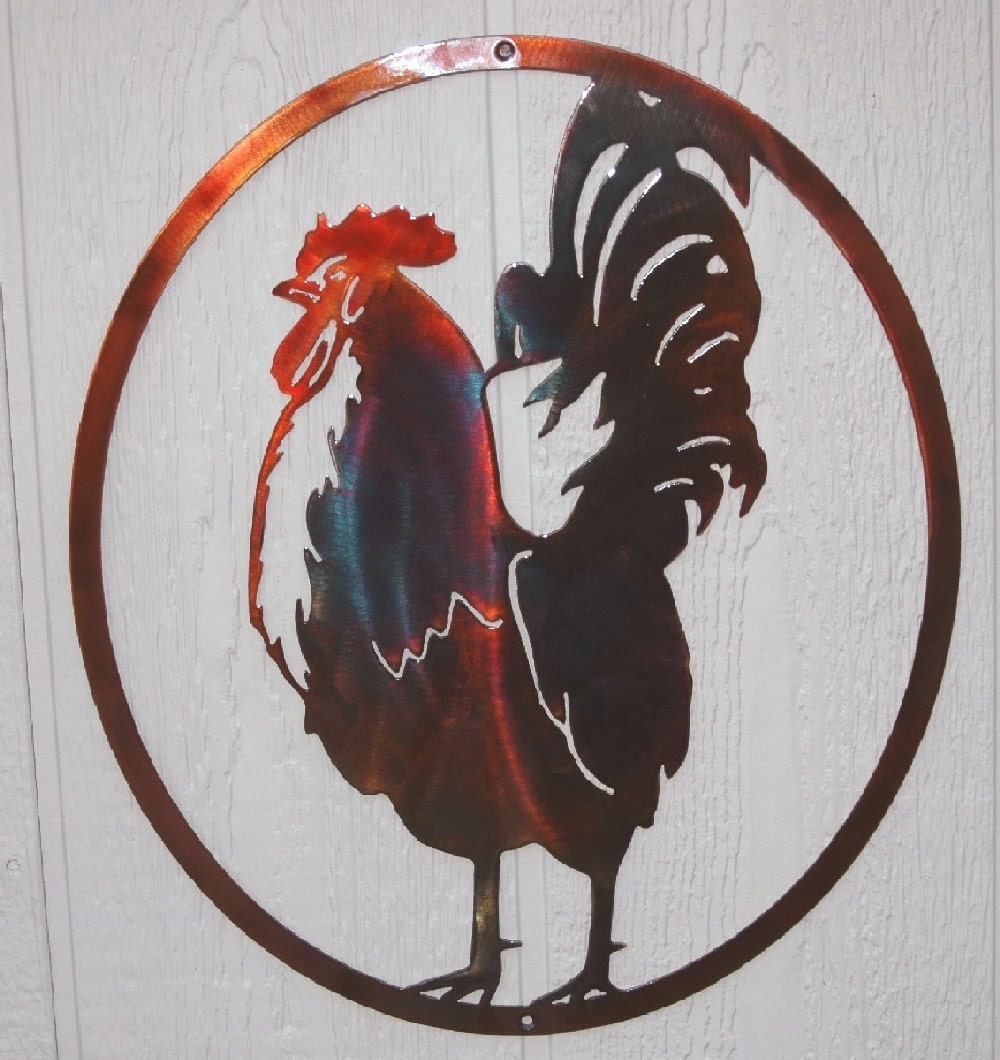 Kitchen Metal Wall Decor: Rooster In Oval Country Kitchen Metal Wall Art