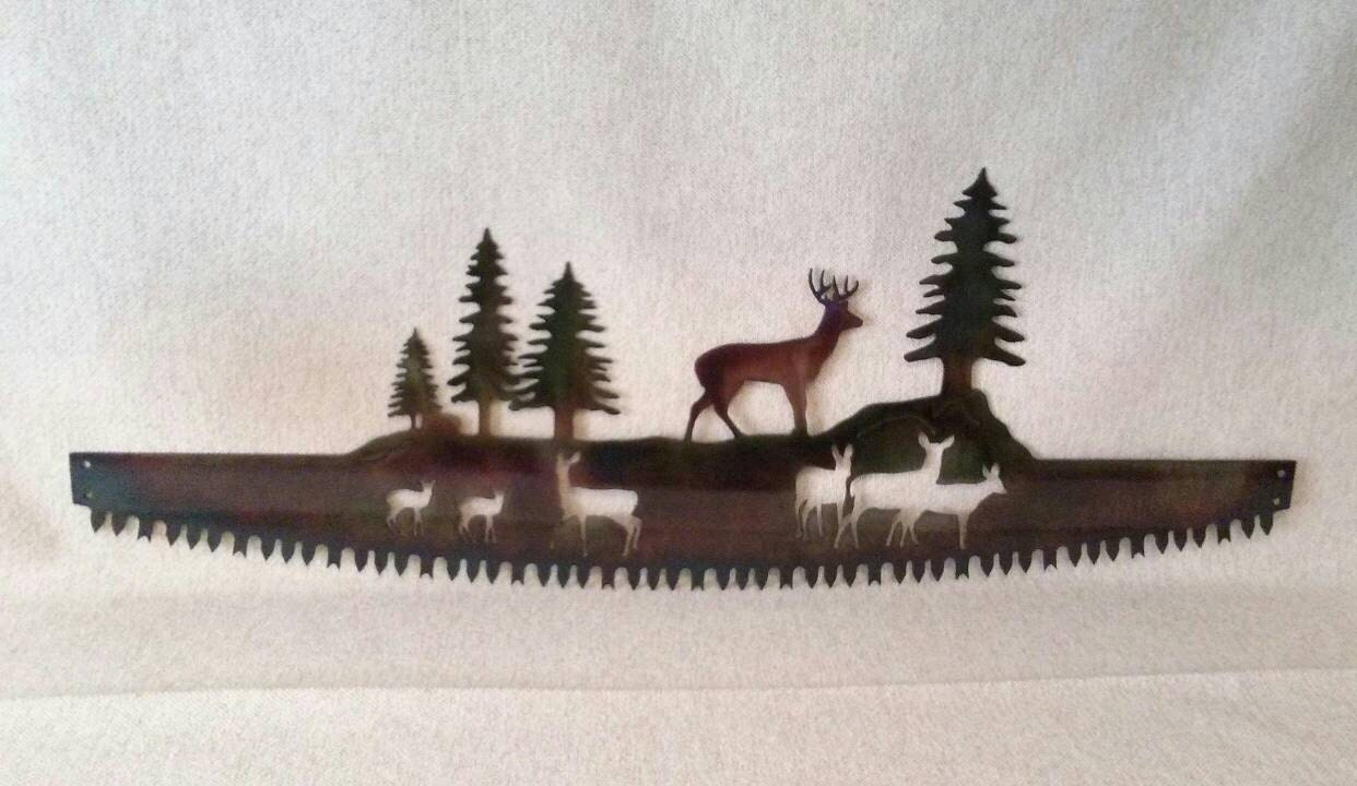 Saw Back Wall : Whitetail buck deer family in crosscut saw blade indoor