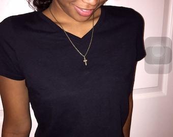 Brass Cross Pendant Necklace
