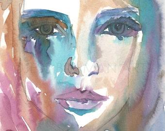 Original Watercolor Painting, Watercolor Portrait, Hopeless Dreamer by Jessica Buhman, Original Watercolor, 9 x 12, Painting of Woman