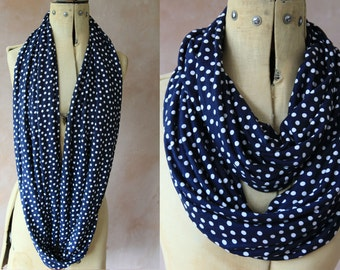 Eternity scarf, Infinity scarf, Circle scarf, Jersey scarf, Tube scarf, Loop scarf, Snood,T-Shirt scarves - White and Navy Polka Dots Print