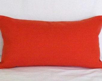 Salmon Coral Orange Linen Pillow Cover for 12x22 Pillow Form Throw Pillow Toss Pillow Accent Pillow