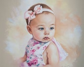 Pastel portrait of a baby girl