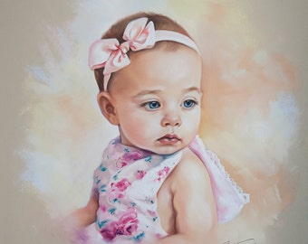 Pastel portrait of a baby girl , original pastel painting
