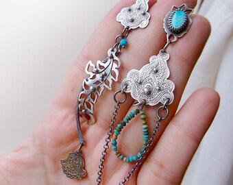 The Wanderlust Earrings - Silversmithed Kingman Turquoise Asymmetrical Earrings
