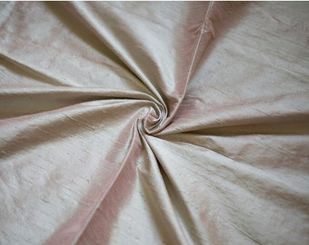 Pink and Green Iridescent Dupioni Fabric, Sea Shell Silk Fabric by the Half Yard