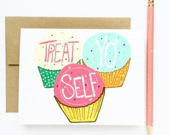 Funny Birthday Card - Treat Yo Self Day - Birthday Card for him - Birthday Cards for her - Funny bday card - Treat Yo Self Card