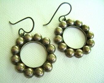 vintage mexican upcycled hoop earrings in sterling