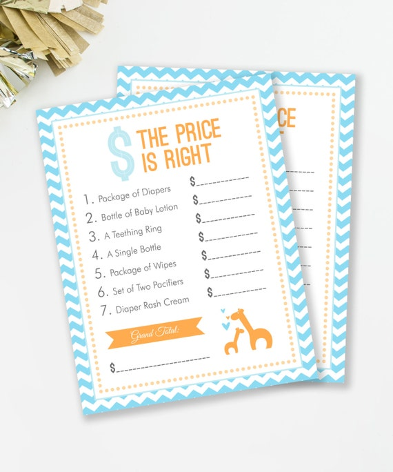 baby shower the price is right baby shower game safari baby shower