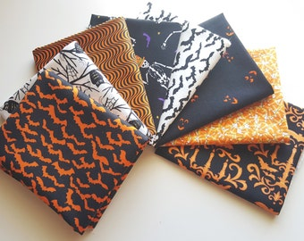 Moda Deb Strain Halloween Fat Quarter Bundle - 8 orange, black & white FQs (2 yards total)