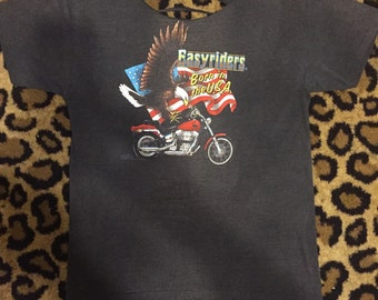 """Vintage 3d emblem Harley Davidson """"Easyriders"""" tshirt from 1986 cut up. Sz L"""