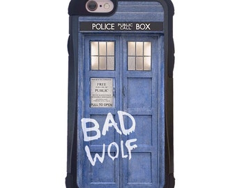 Doctor Who Tardis BAD WOLF 2 Piece Case with Extra Protection For iPhone 6 or iPhone 6s. Dr Who iPhone case.