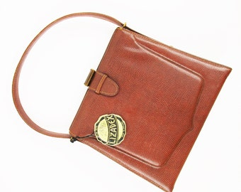 A 'Lizadex' Purse - Made in England - LBF-England Snap Clasp - Brass Framed Pop-Up Mirror - Original Label - Self- Lined - With Coin Purse