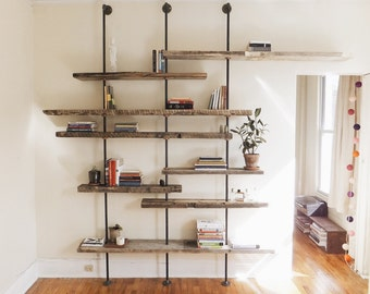 Modern Reclaimed Wood Shelving Unit Using Aged Salvaged Wood from New York City