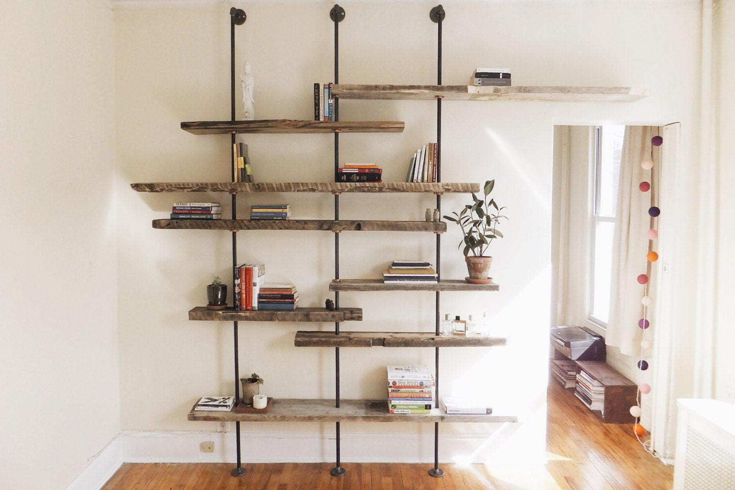Modern Reclaimed Wood Shelving Unit Using Aged Salvaged Wood