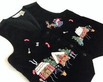 Vintage Casey&Max Christmas vest Black velvet Christmas vest with appliques Button Up Christmas vest made in India