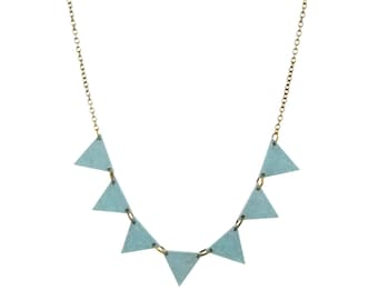Mint triangle necklace, mint green wood necklace, lightweight necklace, geometric jewelry, bunting, pennant, spring jewelry, extra long
