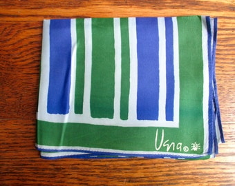 Vintage Vera Neumann Purple and Green Striped Scarf