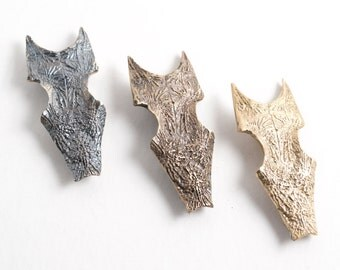 Sea Tumbled Animal Bone Lost Wax Cast Solid Bronze or Brass Brooch with a Stainless Steel Pin