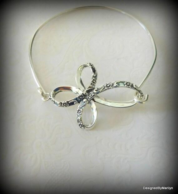 Sterling silver cross bracelet, heavenly jewelry, memorial jewelry, religious jewelry, wedding bracelet, bangle bracelet