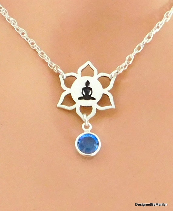 Sterling silver necklace, yoga jewelry, religious jewelry, meditation, lotus flower choker