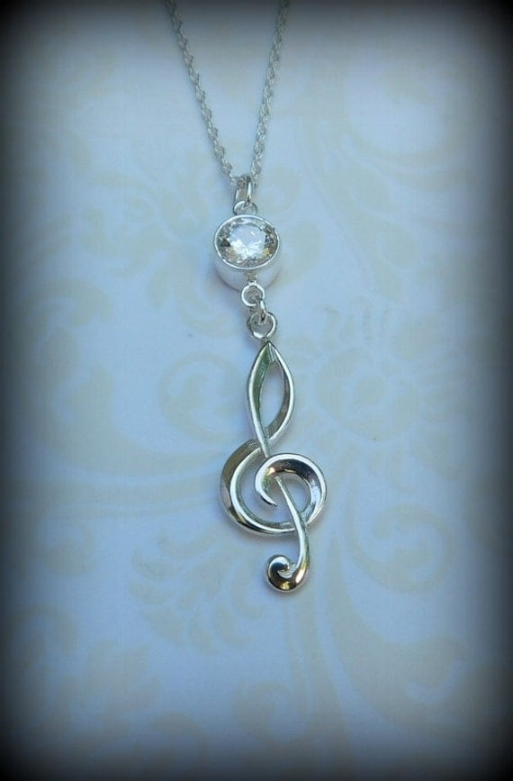 Sterling silver treble clef necklace, music for a musician, musician necklace, music instructor, music student.