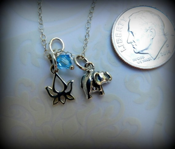 Sterling silver elephant and lotus flower necklace, yoga jewelry, religious jewelry,healing necklace