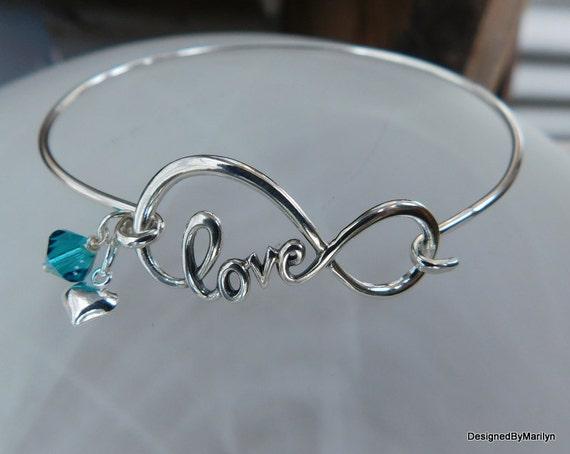Sterling silver love bangle bracelet, love bracelet, personalized, Valentine gift, infinity bracelet