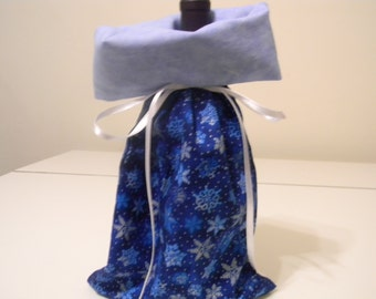 Gift Bag - Wine bottle gift bag - blue snowflake print