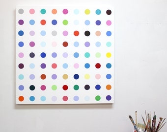 36x36 Dot Painting in the style of Damien Hirst