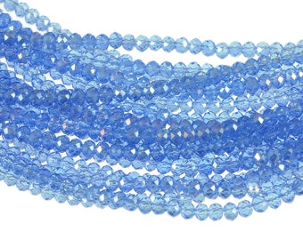 "3mm Small Crystal Rondelles - Light Sapphire Blue with Satin Finish, Transparent - Full 16"" Strand - About 160 Roundel Beads"