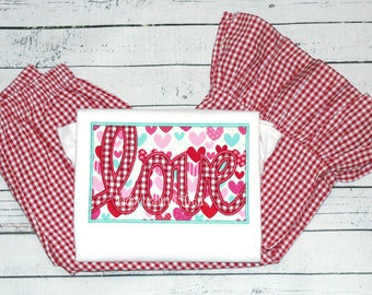 Personalized Valentine Love Ruffle Shirt and Bottoms, Love Shirt & Matching Bottoms, Valentine Love Patch Tshirt