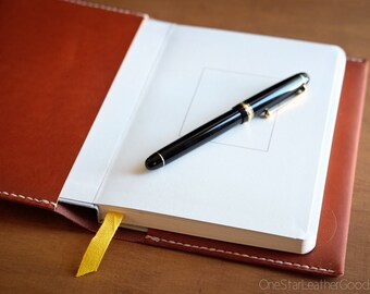 Baron Fig Confidant Notebook and cover, fountain pen friendly notebook, hand stitched bridle leather - chestnut