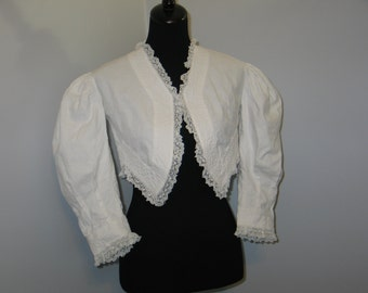 Antique 19th Century Victorian Edwardian BODICE Bolero Jacket- White Cotton-Bobbin LACE Bridal