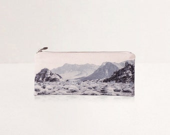 SALE Purple Landscape Pouch - Nevada Desert in Monochrome. Vegan Printed Make Up Bag and Pencil Pouch, Back to School