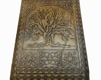 """Tree of Life Embossed Handmade Leather Journal Notebook Diary 7x5"""" Blank Pages Tanned Color"""