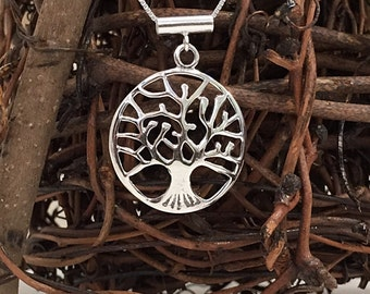 Contemporary Sterling Silver Tree of Life Necklace