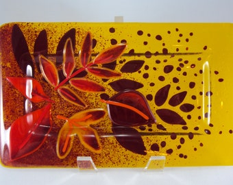 Fused Glass Autumn Leaves Tray