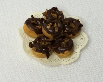 """Dollhouse Miniature 1""""  Food Doughnuts with chocolate Icing (Itz)"""