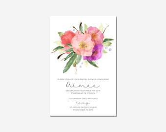 Bridal Shower Invite - Save the Date - Baby Shower -  Watercolour - Flowers - Blooms