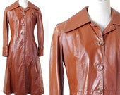 Vintage 1970s Women's Brown Leather Coat / Size 9-10 / Dorby Casuals of New York / Maxi Leather Coat / Long Leather Coat