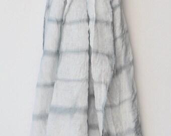 Summer Linen Scarf, Shibori Scarf, Hand Dyed Scarf, White  Scarf, Grey Scarf, Minimalist Gift, Art Scarf, Sample sale.