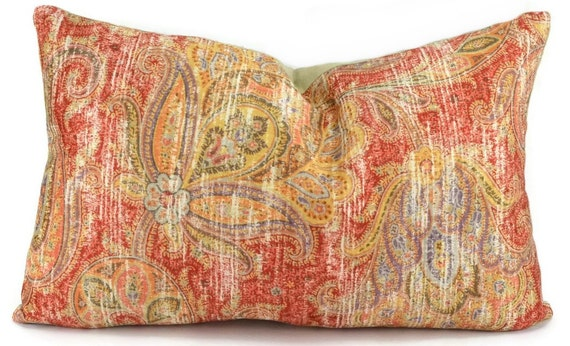 Throw Pillow Cover Red Coral & Gold Patterned Velvet Lumbar