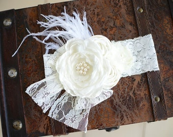 Ivory rosette headband, girls couture headband, lace vintage girl headband, baby headband, newborn picture headband, couture ivory headband