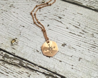 Design Stamp Hexagon Shape Necklace