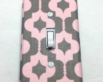 Pink and Grey Quatrefoil Light Switch Plate Cover / Outlet Cover / Bedroom / Home Decor / Baby Shower Gift / Nursery Decor / Kid's Room