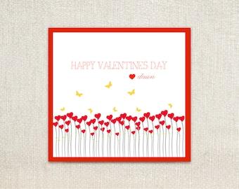 Mädchen-Blumenfeld Kinder Valentine Day Karten