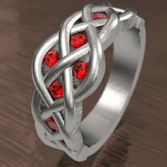 Celtic Ruby Wedding Ring With Woven Knotwork Design in Sterling Silver Made in Your Size CR-764