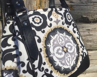 Black and Gold Medallion Charlotte City Tote / Handbag with Black Vinyl Trim, Ladies black purse, Black and Gold Bag, black gold handbag